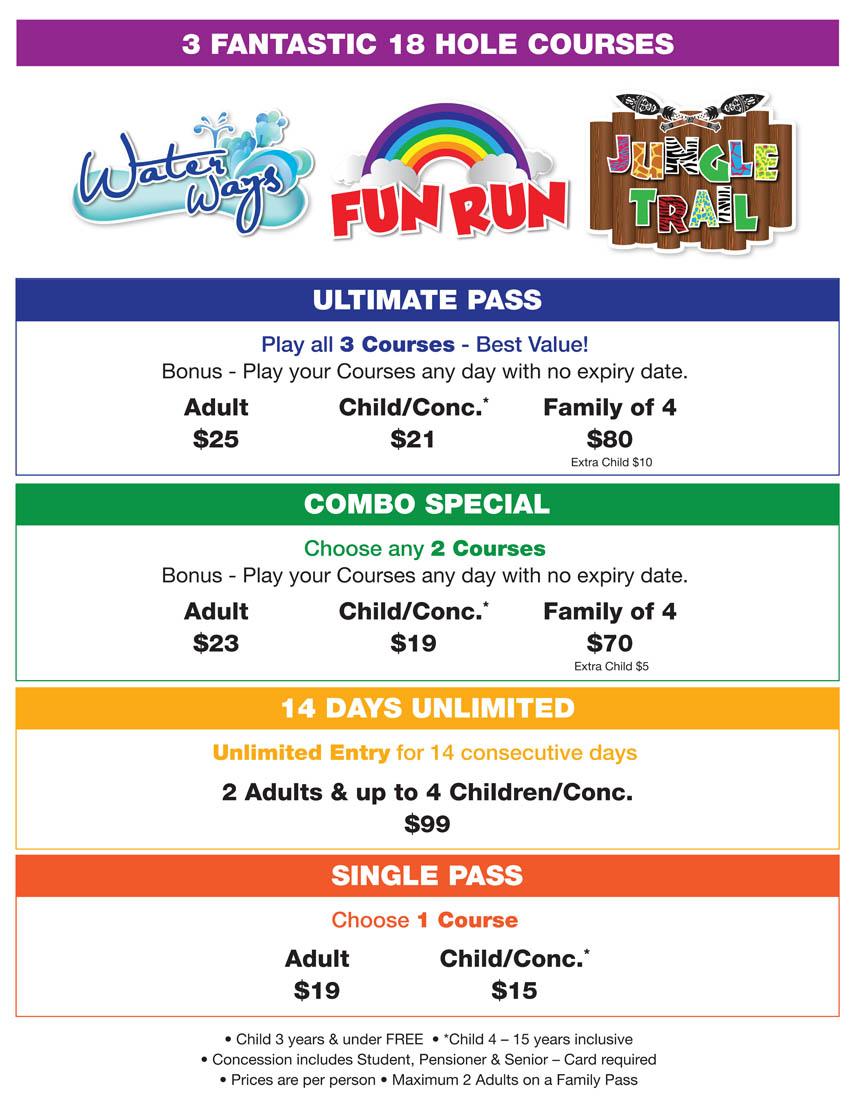 Putt Putt Mermaid Beach Price List
